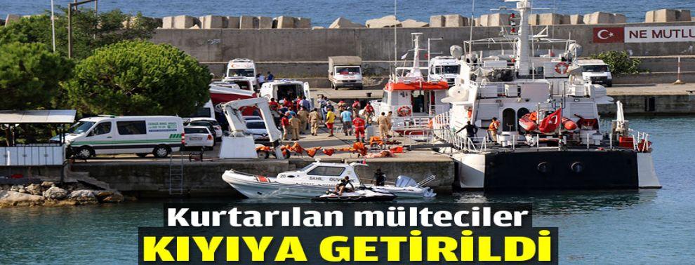 Kurtarılan mülteciler kıyıya getirildi